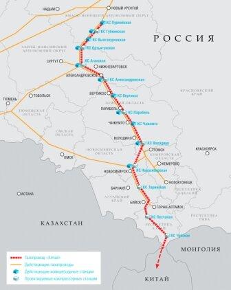 """Схема газопровода """"Алтай"""""""
