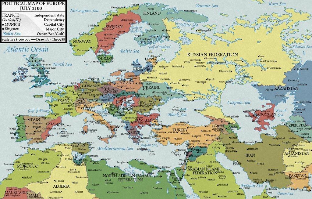 Карта Европы 2100 года (прогноз)
