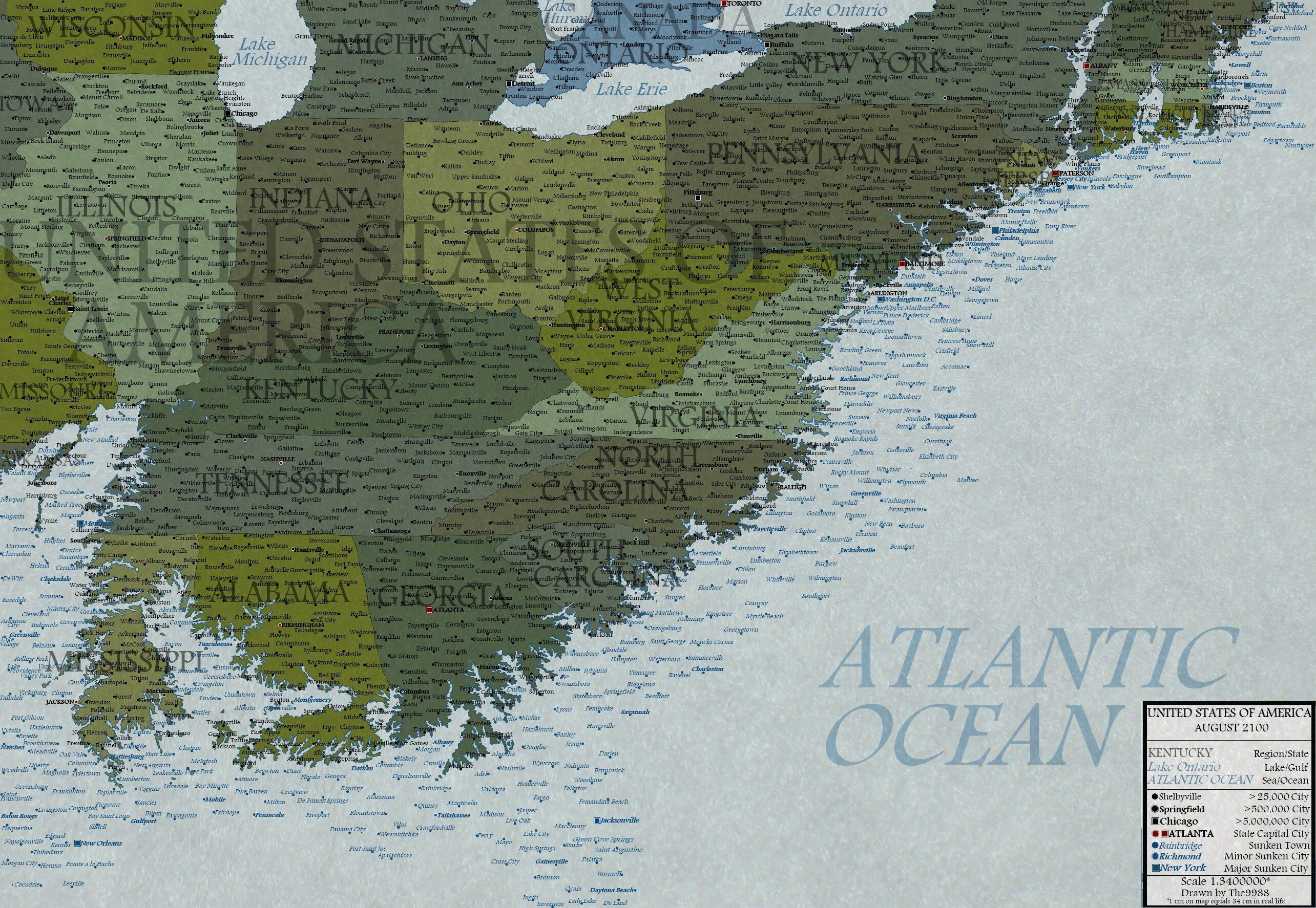 Карта США 2100 года