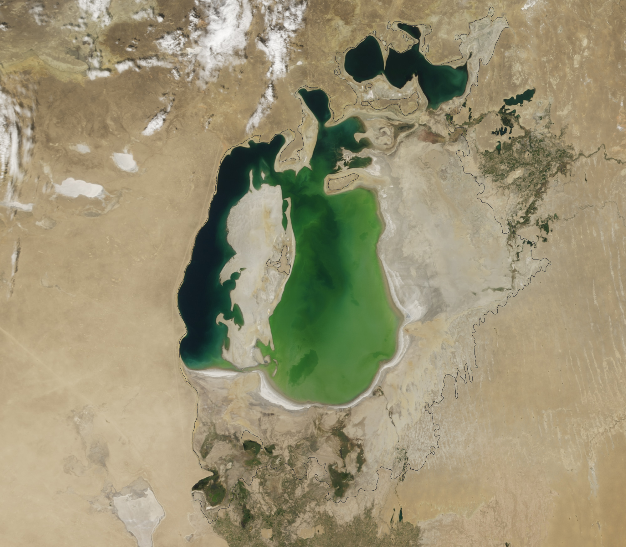 Аральское море в 2000 году, снимок со спутника