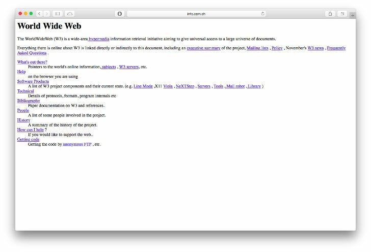 Первый сайт в мире, созданный в 1990г.