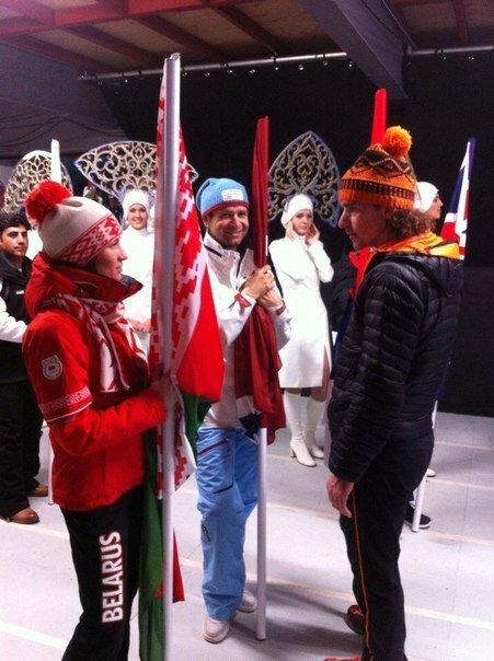 Фото: Домрачева и Бьорндален на закрытии Олимпиады в Сочи