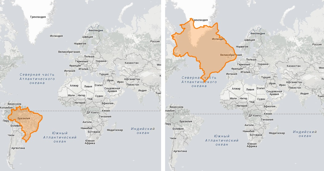 """Страны """"гиганты""""  в реальном размере: площадь Бразилии"""