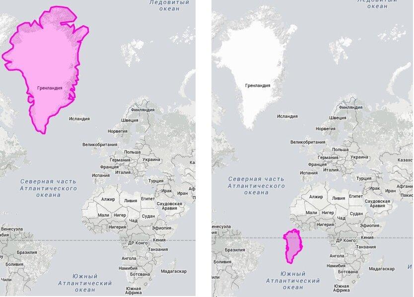 """Страны """"гиганты""""  в реальном размере: Гренландия и Африка"""