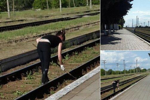 Крымская железная дорога зКрымская железная дорога заростает травойаростает травой