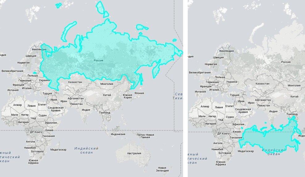 """Страны """"гиганты""""  в реальном размере: площадь России и Африки"""