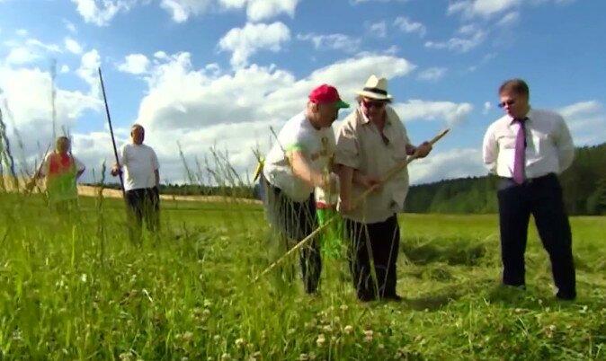 Жерар Депардье и президент Лукашенко в Беларуси косят траву
