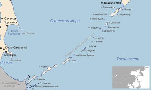 Карта: острова Курильской гряды у границ Японии