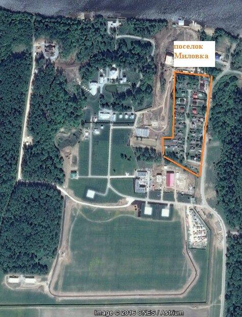 Территория дачи Медведева и поселок Миловка - фото со спутника